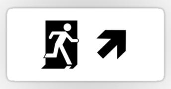 Running Man Exit Sign Sticker Decals 120