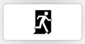 Running Man Exit Sign Sticker Decals 123