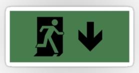 Running Man Exit Sign Sticker Decals 24