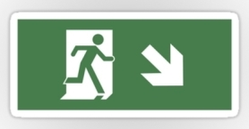 Running Man Exit Sign Sticker Decals 42