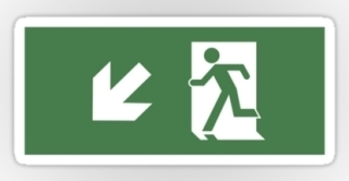 Running Man Exit Sign Sticker Decals 48
