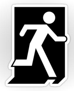 Running Man Exit Sign Sticker Decals 72