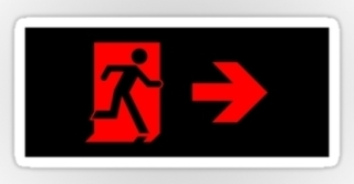 Running Man Exit Sign Sticker Decals 80