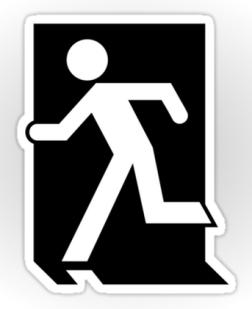 Running Man Exit Sign Sticker Decals 83