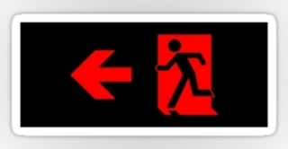 Running Man Exit Sign Sticker Decals 86