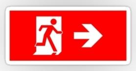 Running Man Exit Sign Sticker Decals 94