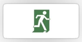 Running Man Exit Sign Sticker Decals 97