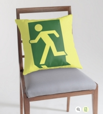 Running Man Exit Sign Throw Pillow Cushion 1