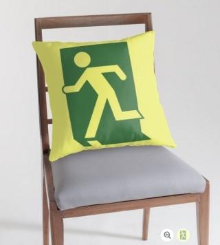 Running Man Exit Sign Throw Pillow Cushion 1