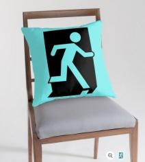 Running Man Exit Sign Throw Pillow Cushion 100