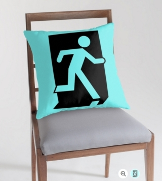 Running Man Exit Sign Throw Pillow Cushion 100