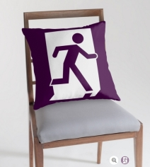 Running Man Exit Sign Throw Pillow Cushion 101