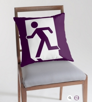 Running Man Exit Sign Throw Pillow Cushion 102