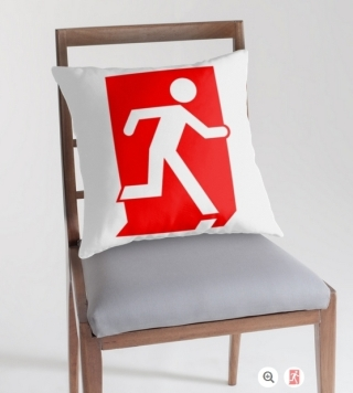 Running Man Exit Sign Throw Pillow Cushion 103