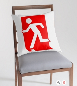 Running Man Exit Sign Throw Pillow Cushion 104