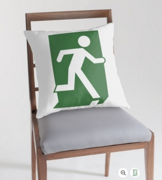 Running Man Exit Sign Throw Pillow Cushion 105