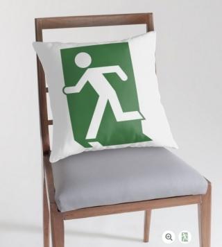Running Man Exit Sign Throw Pillow Cushion 106