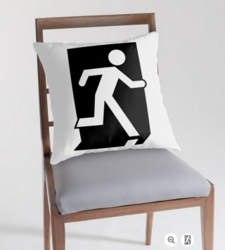 Running Man Exit Sign Throw Pillow Cushion 107
