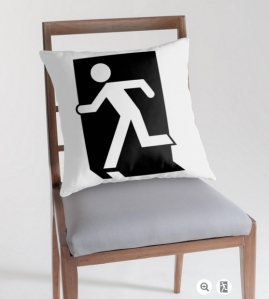 Running Man Exit Sign Throw Pillow Cushion 108