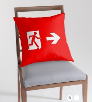 Running Man Exit Sign Throw Pillow Cushion 109