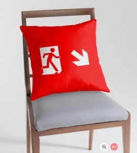 Running Man Exit Sign Throw Pillow Cushion 110