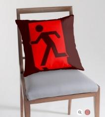 Running Man Exit Sign Throw Pillow Cushion 111