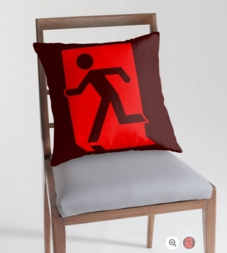 Running Man Exit Sign Throw Pillow Cushion 111
