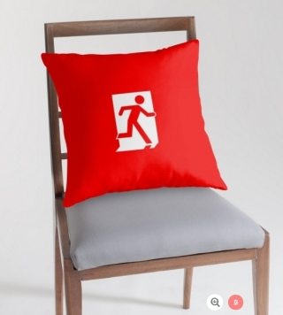 Running Man Exit Sign Throw Pillow Cushion 114