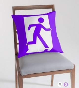 Running Man Exit Sign Throw Pillow Cushion 12