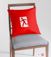 Running Man Exit Sign Throw Pillow Cushion 120