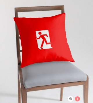Running Man Exit Sign Throw Pillow Cushion 120