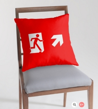 Running Man Exit Sign Throw Pillow Cushion 121