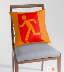 Running Man Exit Sign Throw Pillow Cushion 122