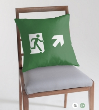 Running Man Exit Sign Throw Pillow Cushion 125