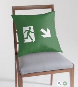 Running Man Exit Sign Throw Pillow Cushion 126