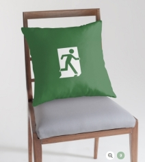 Running Man Exit Sign Throw Pillow Cushion 128