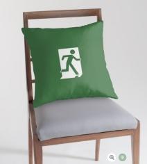 Running Man Exit Sign Throw Pillow Cushion 128