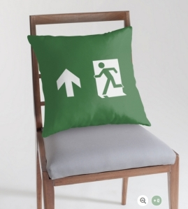 Running Man Exit Sign Throw Pillow Cushion 129