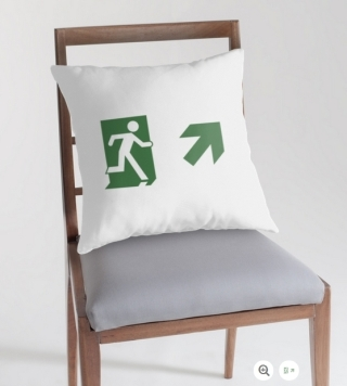 Running Man Exit Sign Throw Pillow Cushion 13