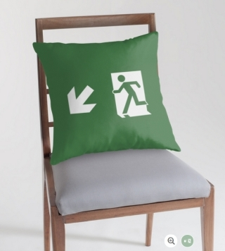 Running Man Exit Sign Throw Pillow Cushion 132