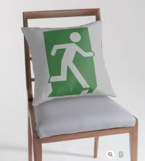 Running Man Exit Sign Throw Pillow Cushion 133