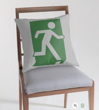 Running Man Exit Sign Throw Pillow Cushion 133