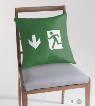 Running Man Exit Sign Throw Pillow Cushion 134