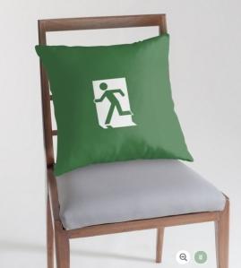 Running Man Exit Sign Throw Pillow Cushion 135