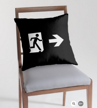 Running Man Exit Sign Throw Pillow Cushion 137
