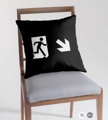 Running Man Exit Sign Throw Pillow Cushion 139