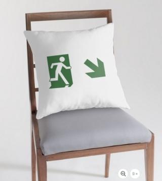 Running Man Exit Sign Throw Pillow Cushion 14