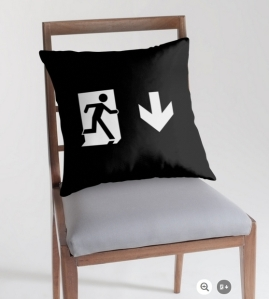 Running Man Exit Sign Throw Pillow Cushion 140