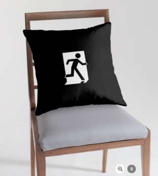 Running Man Exit Sign Throw Pillow Cushion 141