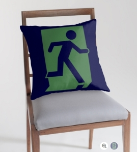 Running Man Exit Sign Throw Pillow Cushion 144